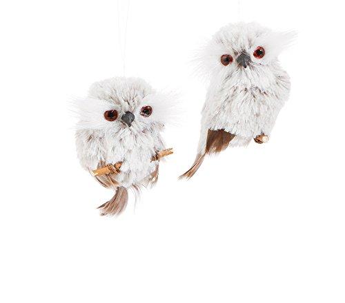Set of 2 Assorted Raz 3″ Furry Grey Owl Ornaments
