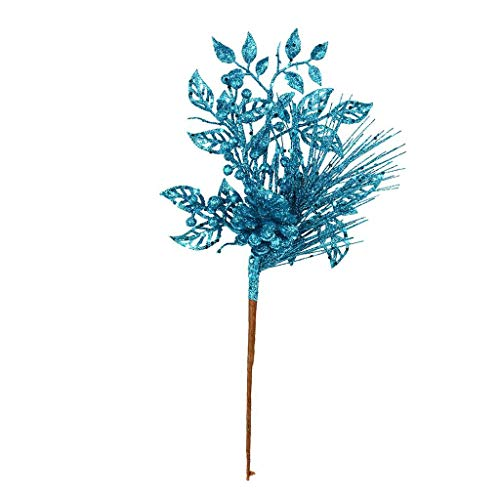 Vickerman 555545-10″ Turquoise Pinecone Glitter Leaf Pick (12 pack) (L185812)