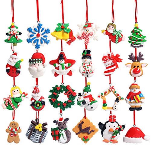 Unomor Christmas Ornaments for Christmas Tree Decorations 24 Pieces Soft Clay Made