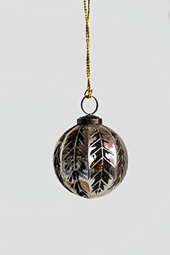 Creative Co-op Round Glass Ornament, Silver