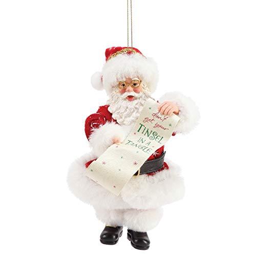 Department 56 Possible Dreams Santa Tinsel in a Tangle Personalizable Hanging Ornament, 6 Inch, Multicolor