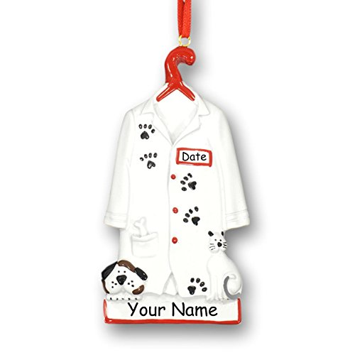 Personalized Vet Christmas Ornament – Veterinarian Pet Doctor or Vet Tech White Lab Coat Uniform Jacket with Dog and Cat Paw Prints – Custom Name and Date