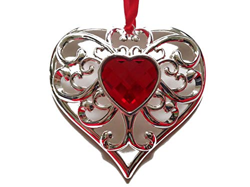 Lenox Gemmed Silver Plated Metal Ruby Red Crystal Heart Ornament – L 3.5″