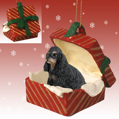 Conversation Concepts Cocker Spaniel Black & Tan Gift Box Red Ornament