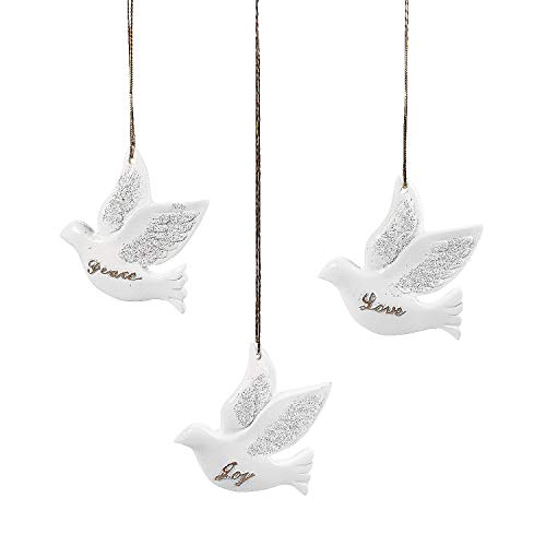 Fun Express Resin Dove Ornaments for Christmas – Home Decor – Ornaments – Religious – Christmas – 12 Pieces