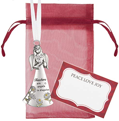Ganz U.S.A., LLC Teachers are Angels in Disguise Angles Among Us Side Ornaments for Religious Holiday Christmas Tree Decor Inspirational Gifts from Students, Parents Presented in Red Organza Bag