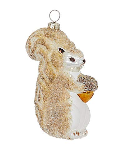Raz 4.5-Inch Glass Squirrel Holding Acorn Ornament