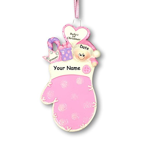 Personalized Baby Girl's First Christmas Glittered Pink Mitten with Santa Hat and Little Princess Crown Hanging Christmas Tree Ornament with Custom Name and Date (Optional)