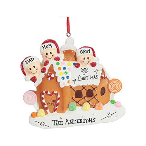 Personalized Christmas Tree Decoration Ornament 2019 – Traditional Home Décor – New Year Santa Gift – Holiday Fun w Hanging Hook – Gingerbread House of 3 – Free Customization
