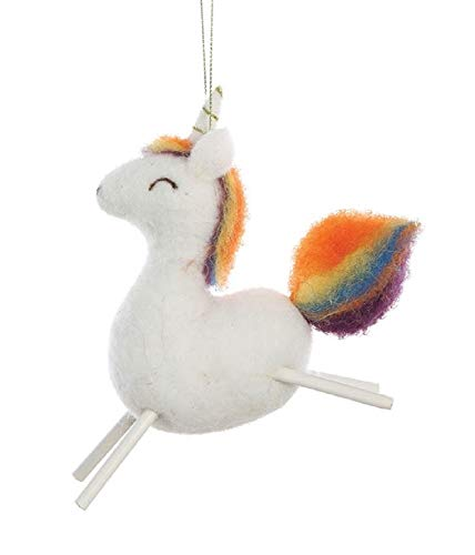 Creative Co-op Rainbow Unicorn Wool Felt Hanging Ornament
