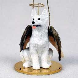 1 X German Shepherd Angel Dog Ornament – White