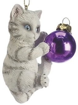 Midwest Seasons Grey Tabby Kitten Playing with Purple Bulb Cat Christmas Tree Ornament