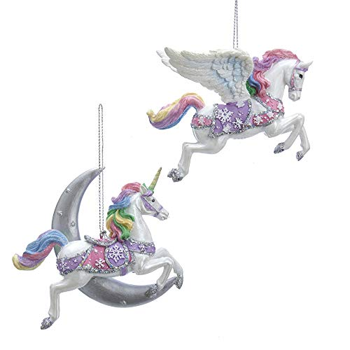Kurt Adler Rainbow Unicorn with Moon & Pegasus 3.88″ (Resin) Set of 2 Ornaments for Christmas & Home Décor