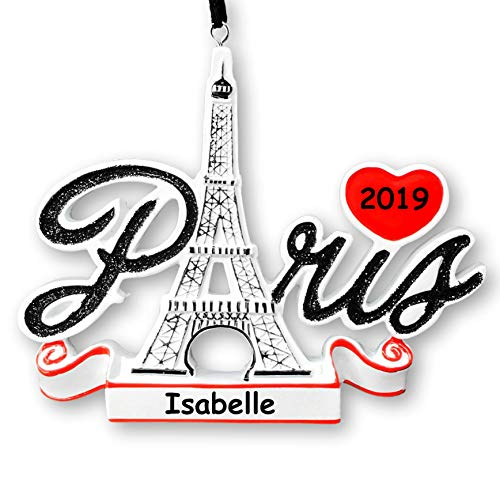 Polar X Personalized Paris France Christmas Ornament – Sightseeing and Tourist Travel Souvenir Eiffel Tower Hanging Tree Ornament with Custom Name and Date