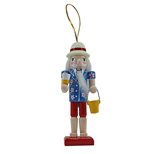 Beachcombers 5-Inch Wood Hawaiian Santa Nutcracker Ornament