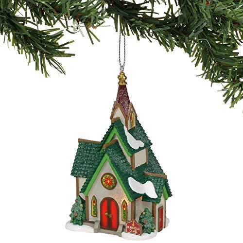 Department 56 North Pole Series Village St. Nicholas Chapel Hanging Ornament, 4.33 Inch, Multicolor