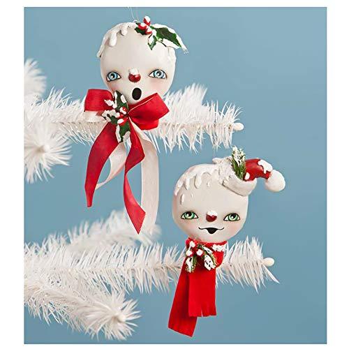 Bethany Lowe Set/2 Holly Jolly Snowmen Christmas Tree Retro Vintage Ornament Decor
