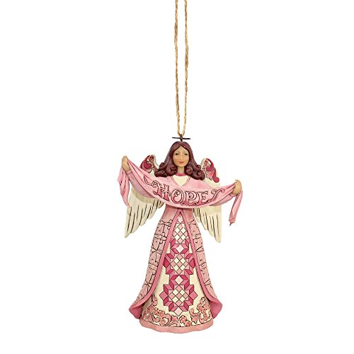 Enesco Jim Shore Heartwood Creek Pink Angel w/Hope Banner ORN
