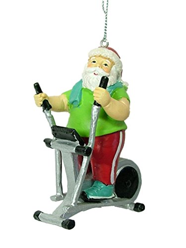 Midwest Seasons Santa Claus on Elliptical Exercise Gym Equipment Workout Christmas Tree Ornament