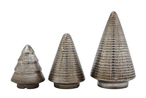 Creative Co-op Silver Metallic Glazed Terracotta (Set of 3 Sizes) Tree Figurine