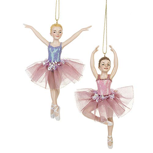 Midwest Glitter Pink Purple Ballerinas 4.5 inch Resin Decorative Christmas Ornament, Set of 2