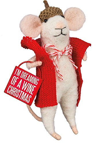 Primitives By Kathy Box 4.50 inch Tall Sign Mouse – Wine Cmas