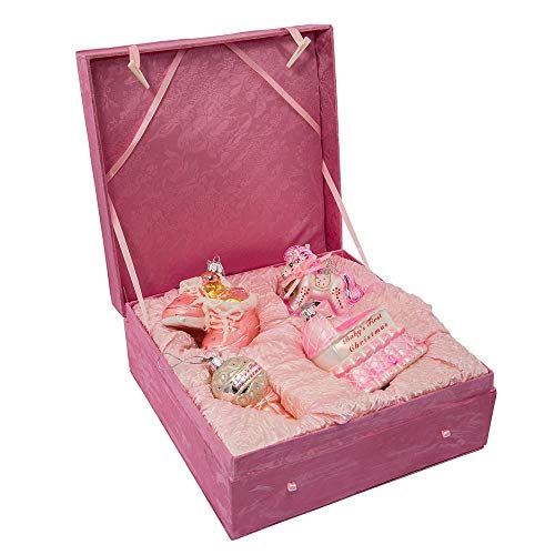 Kurt Adler Glass Ornament with S-Hook and Gift Box, Baby Collection (Baby Girl 4-Piece Set)