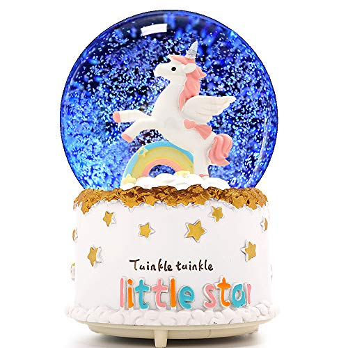 VECU Unicorn Snow Globe, 100 MM Automatic Snowfall Cartoon Rainbow Music Box Home Decoration for Girls Kids Granddaughters Babies Birthday Gift, Musical, Resin/Glass (Automatic Snowfall)