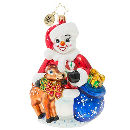 Christopher Radko Hand-Crafted European Glass Christmas Decorative Figural Ornament, Frosty and Baby Fawn