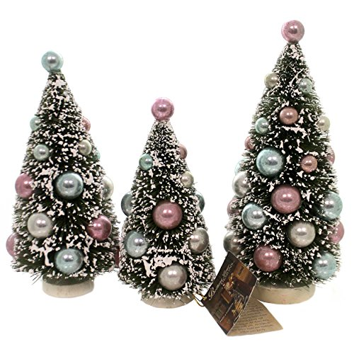 Bethany Lowe Holiday Village Set of 3 Bottle Brush Trees with Pastel Color Balls