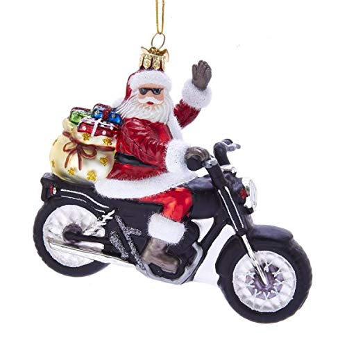 Kurt Adler Noble Gems Santa on Motorcycle Glass Hanging Ornament, 5.5 inches Tall
