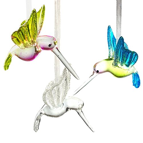 BANBERRY DESIGNS Hummingbird Glass Ornaments with Glitter Accents – Set of 3 – Handblown Ornament – Holiday Decorations Christmas Tree Ornaments Xmas Gift for Bird Lover