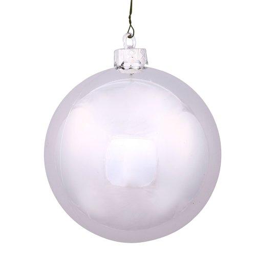Vickerman 6″ Silver Shiny Ball Ornament 4 per Box