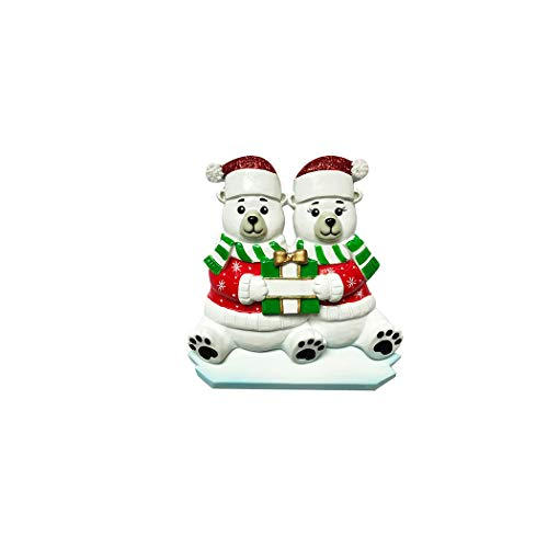 Personalized Polar Bear Family of 2 Christmas Tree Ornament 2019 – Arctic Friend Santa Hat Present Winter Sweater Snow Ice Together Child Holiday Tradition Sibling Kid Year – Free Customization