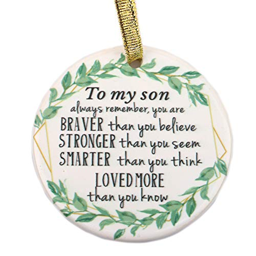 Julius Thomson Son Ornaments Christmas Personalized Ornament, Always Remember You are Braver Stronger Smarter- Motivational and Inspirational Gift from Mom Dad- Xmas Holidays Decoration 3″ Ornament