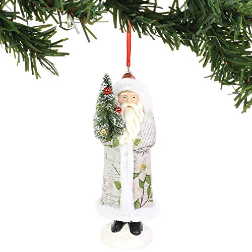 Department 56 Magnolia Garden Decoupage Santa Holding a Tree Hanging Ornament, 6 Inch, Multicolor