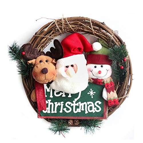 14 Inch Santa Claus Christmas Wreath – Snowman Grapevine Wreath, Merry Christmas Wreath with Reindeer Snowman Santa Claus Front Door Wreaths for Home Kitchen Wall Window Hall Decor