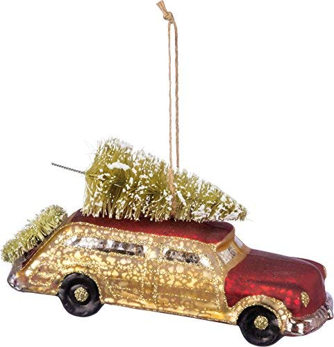 Primitives By Kathy 5 Inches x 3 Inches Bristle Glitter Glass – Red and Gold Car Decorative Hanging Ornaments