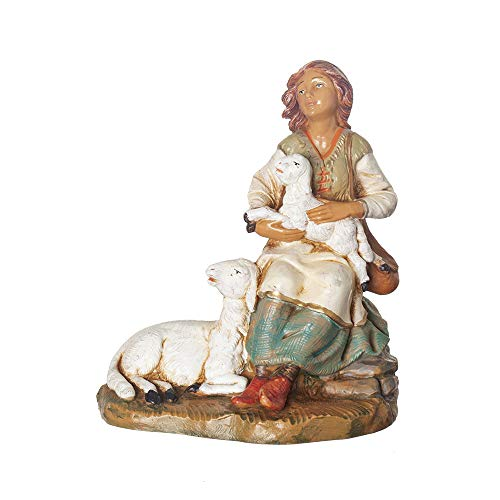 Fontanini, Nativity Figure, Nahome The Shepherdess, 7.5″ Scale, Collection, Handmade in Italy, Designed and Manufactured in Tuscany, Polymer, Hand Painted, Italian, Detailed