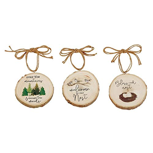 Mud Pie Wood Slice Ornament (Forest)