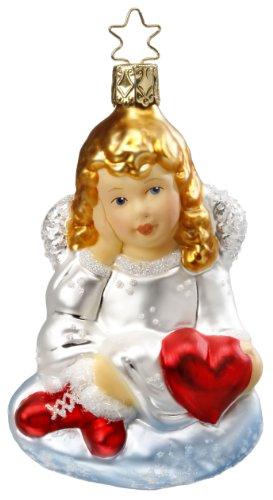 Inge Glas Angel Sweet Heart 1-038-10 German Blown Glass Christmas Ornament
