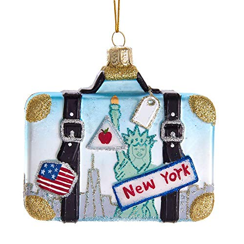 Kurt Adler Noble Gems New York Suitcase Hanging Ornament, 4 inches Tall