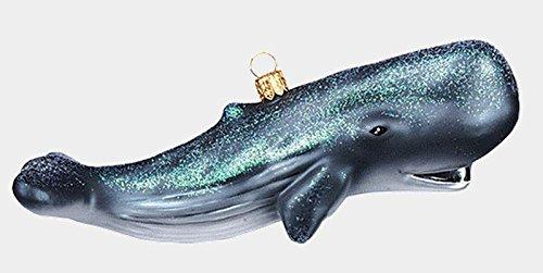 Pinnacle Peak Trading Company Sperm Whale Cachalot Ocean Life Polish Mouth Blown Glass Christmas Ornament