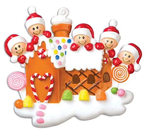 Polar X Gingerbread House with 5 Personalized Christmas Ornament (Family Series)