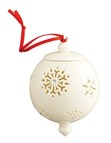 Belleek 7536 Snowflake with Gems Bauble, 4.1-Inch, White