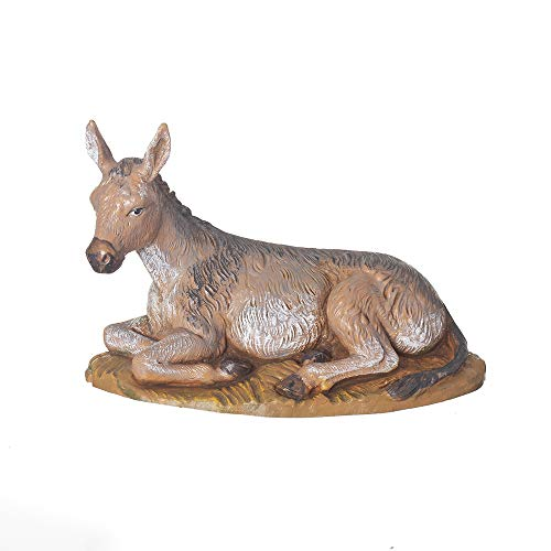 Fontanini, Nativity Figure, Seated Donkey, 7.5″ Scale, Collection, Handmade in Italy, Designed and Manufactured in Tuscany, Polymer, Hand Painted, Italian, Detailed
