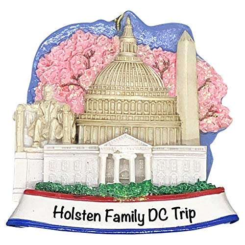 Holiday Traditions Washington DC Landmarks – Unique Christmas Tree Ornament – Special Keepsake – Custom Vacation Decoration – Personalization Included