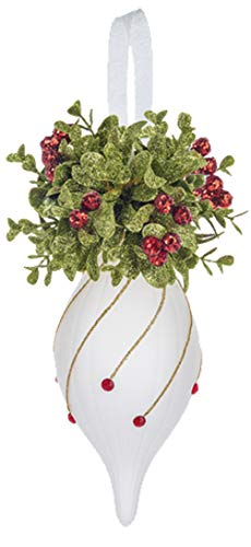 Ganz U.S.A., LLC Kissing Krystals White Glass Teardrop Ornaments with Mistletoe Red Berries, Gold Glitter, 7 inches (White)