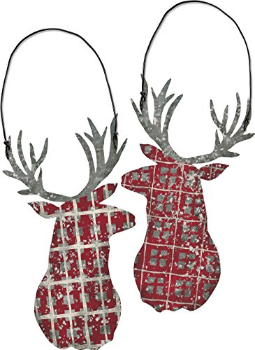 Primitives by Kathy Red Plaid 3.25 Inches x 6 Inches Metal Tin Deer Head Decorative Ornament