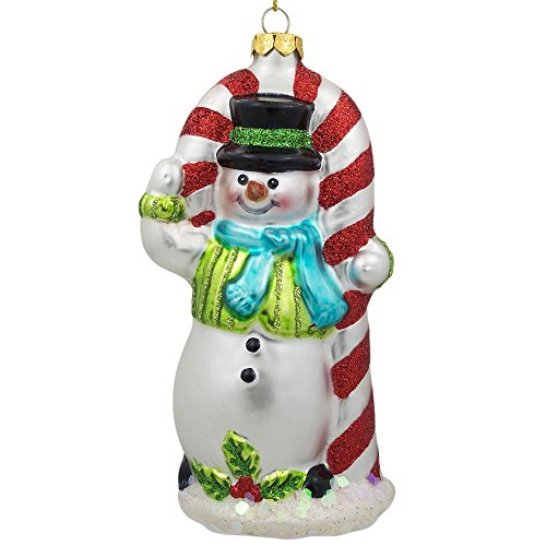 BestPysanky Snowman with The Mint Candy Cane Glass Christmas Ornament 5.25 Inches